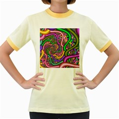 Fractal Background With Tangled Color Hoses Women s Fitted Ringer T-Shirts