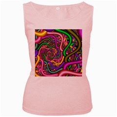 Fractal Background With Tangled Color Hoses Women s Pink Tank Top