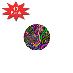 Fractal Background With Tangled Color Hoses 1  Mini Buttons (10 Pack)