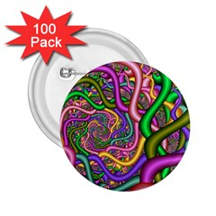 Fractal Background With Tangled Color Hoses 2 25  Buttons (100 Pack)