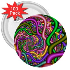 Fractal Background With Tangled Color Hoses 3  Buttons (100 Pack)