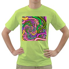 Fractal Background With Tangled Color Hoses Green T-Shirt