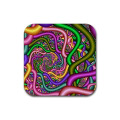 Fractal Background With Tangled Color Hoses Rubber Square Coaster (4 pack)
