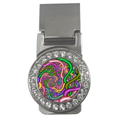Fractal Background With Tangled Color Hoses Money Clips (cz)