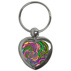 Fractal Background With Tangled Color Hoses Key Chains (heart)