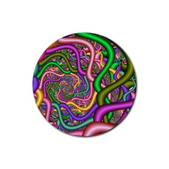 Fractal Background With Tangled Color Hoses Rubber Coaster (Round)