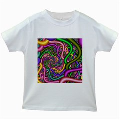 Fractal Background With Tangled Color Hoses Kids White T Shirts