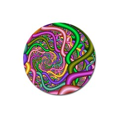 Fractal Background With Tangled Color Hoses Magnet 3  (round)