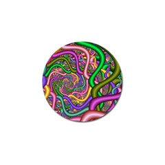 Fractal Background With Tangled Color Hoses Golf Ball Marker