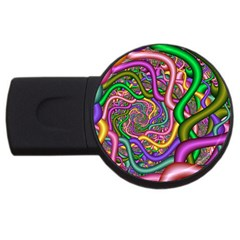 Fractal Background With Tangled Color Hoses USB Flash Drive Round (2 GB)