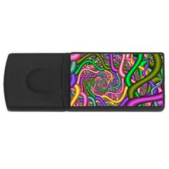 Fractal Background With Tangled Color Hoses USB Flash Drive Rectangular (2 GB)