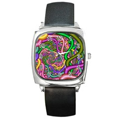 Fractal Background With Tangled Color Hoses Square Metal Watch