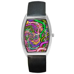 Fractal Background With Tangled Color Hoses Barrel Style Metal Watch