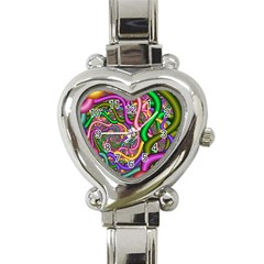 Fractal Background With Tangled Color Hoses Heart Italian Charm Watch