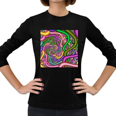 Fractal Background With Tangled Color Hoses Women s Long Sleeve Dark T Shirts