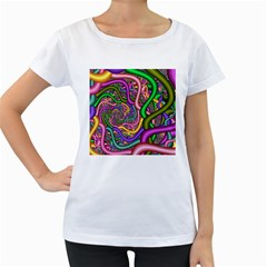 Fractal Background With Tangled Color Hoses Women s Loose Fit T Shirt (white)