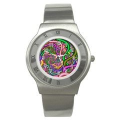 Fractal Background With Tangled Color Hoses Stainless Steel Watch