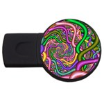 Fractal Background With Tangled Color Hoses USB Flash Drive Round (4 GB) Front