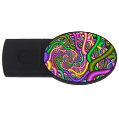 Fractal Background With Tangled Color Hoses Usb Flash Drive Oval (4 Gb)