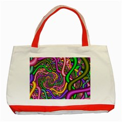 Fractal Background With Tangled Color Hoses Classic Tote Bag (Red)