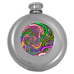 Fractal Background With Tangled Color Hoses Round Hip Flask (5 Oz)