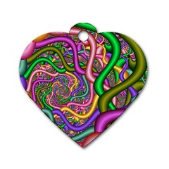 Fractal Background With Tangled Color Hoses Dog Tag Heart (one Side)