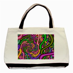Fractal Background With Tangled Color Hoses Basic Tote Bag (two Sides)