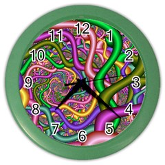 Fractal Background With Tangled Color Hoses Color Wall Clocks