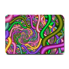 Fractal Background With Tangled Color Hoses Small Doormat