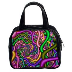 Fractal Background With Tangled Color Hoses Classic Handbags (2 Sides)