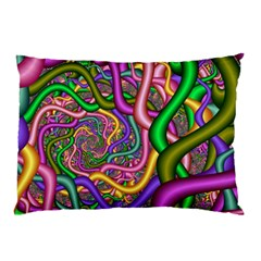 Fractal Background With Tangled Color Hoses Pillow Case