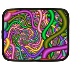 Fractal Background With Tangled Color Hoses Netbook Case (xxl)