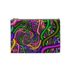 Fractal Background With Tangled Color Hoses Cosmetic Bag (medium)