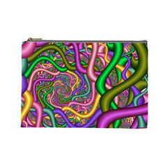 Fractal Background With Tangled Color Hoses Cosmetic Bag (Large)