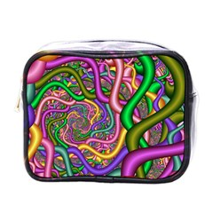 Fractal Background With Tangled Color Hoses Mini Toiletries Bags