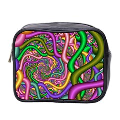 Fractal Background With Tangled Color Hoses Mini Toiletries Bag 2 Side
