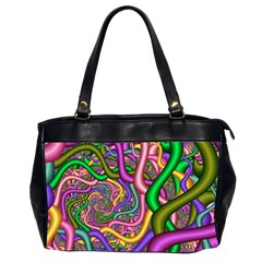 Fractal Background With Tangled Color Hoses Office Handbags (2 Sides)