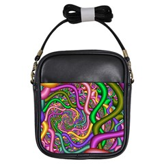 Fractal Background With Tangled Color Hoses Girls Sling Bags