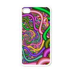 Fractal Background With Tangled Color Hoses Apple Iphone 4 Case (white)