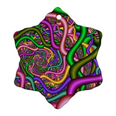 Fractal Background With Tangled Color Hoses Ornament (snowflake)