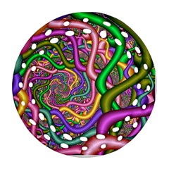Fractal Background With Tangled Color Hoses Round Filigree Ornament (Two Sides)