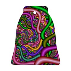 Fractal Background With Tangled Color Hoses Bell Ornament (two Sides)