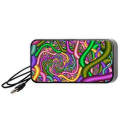Fractal Background With Tangled Color Hoses Portable Speaker (black)