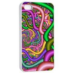 Fractal Background With Tangled Color Hoses Apple Iphone 4/4s Seamless Case (white)