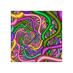 Fractal Background With Tangled Color Hoses Acrylic Tangram Puzzle (4  X 4 )