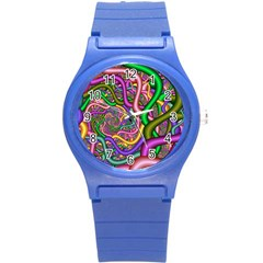 Fractal Background With Tangled Color Hoses Round Plastic Sport Watch (s)