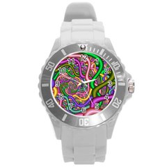 Fractal Background With Tangled Color Hoses Round Plastic Sport Watch (l)