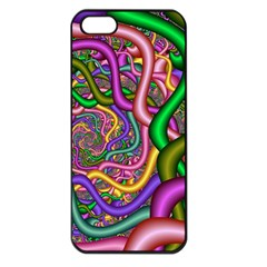 Fractal Background With Tangled Color Hoses Apple Iphone 5 Seamless Case (black)