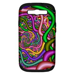 Fractal Background With Tangled Color Hoses Samsung Galaxy S Iii Hardshell Case (pc+silicone)