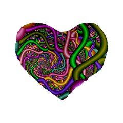 Fractal Background With Tangled Color Hoses Standard 16  Premium Heart Shape Cushions